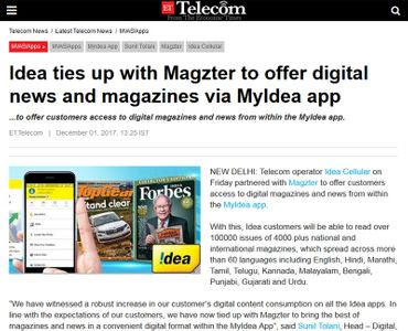 Idea ties up with Magzter to offer digital news and magazines via MyIdea app