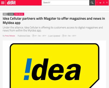 Idea Cellular partners with Magzter to offer magazines and news in MyIdea app