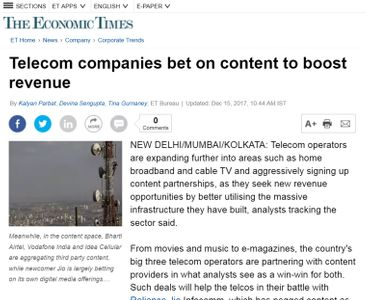 Telecom companies bet on content to boost revenue