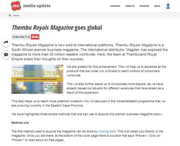 Thembu Royals Magazine goes global