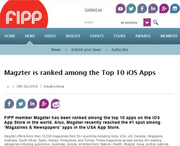 Magzter is ranked among the Top 10 iOS Apps