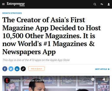 The Creator of Asia's First Magazine App Decided to Host 10,500 Other Magazines. It is now World's #1 Magazines & Newspapers App