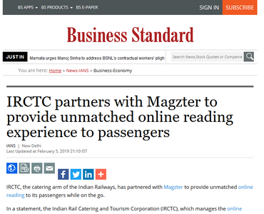 IRCTC partners with Magzter to provide unmatched online reading experience to passengers